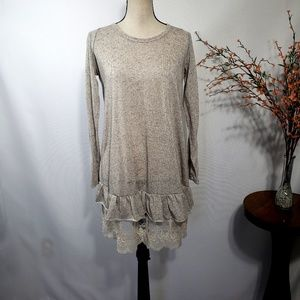Filly Flair Tan Tunic Top Lace Trim Linen Blend